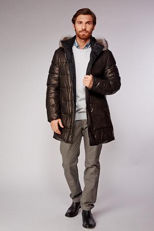 8c1f0d216bcc2 Купить кожаный мужской пуховик в интернет магазине ПокупкаЛюкс СПб